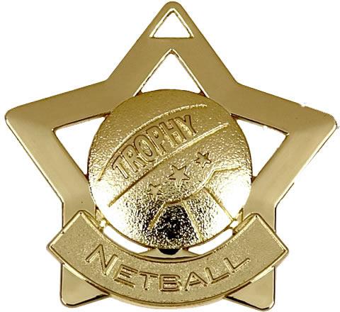"""Gold Netball Mini Star Medal 60mm (2.25"""")"""