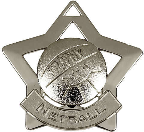 "Silver Netball Mini Star Medal 60mm (2.25"")"