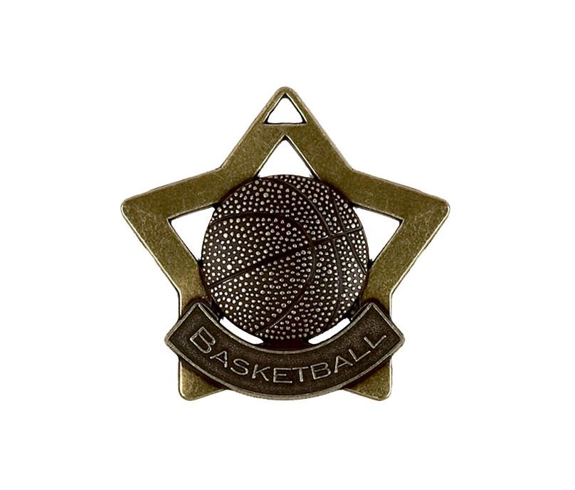 "Bronze Basketball Mini Stars Medal 60mm (2.25"")"