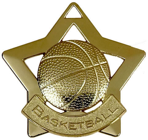 "Gold Basketball Mini Stars Medal 60mm (2.25"")"