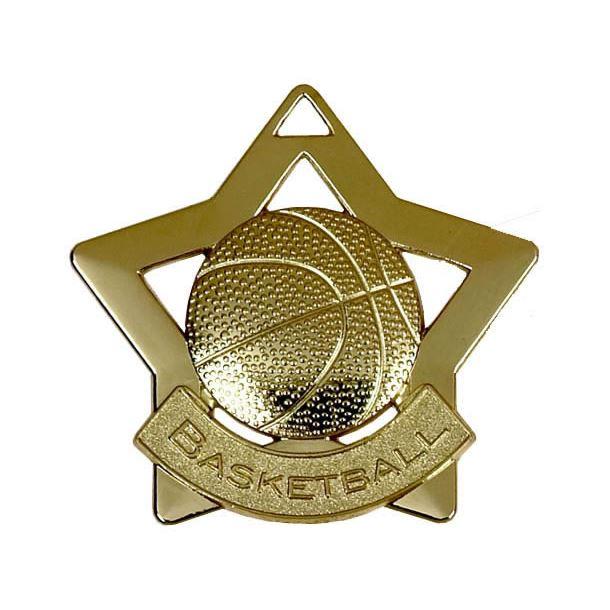 """Gold Basketball Mini Stars Medal 60mm (2.25"""")"""
