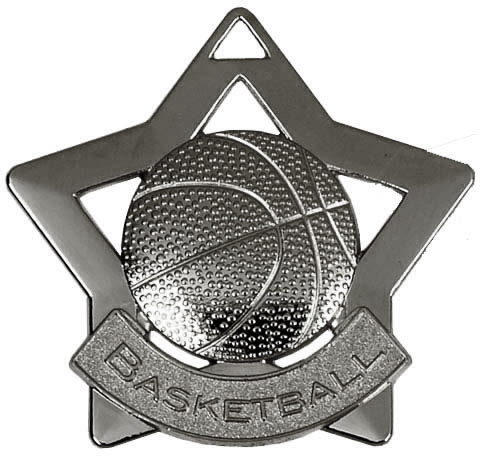 "Silver Basketball Mini Stars Medal 60mm (2.25"")"