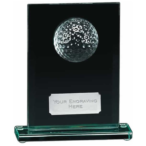 "Golfers Glass Award with Silver Engraving Plate 15cm (6"")"