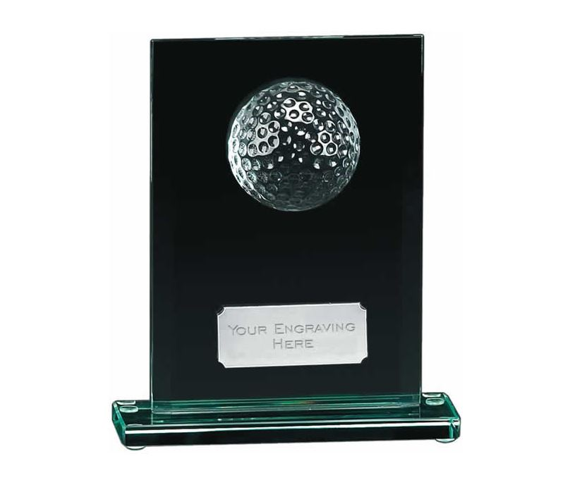 """Golfers Glass Award with Silver Engraving Plate 17.5cm (7"""")"""