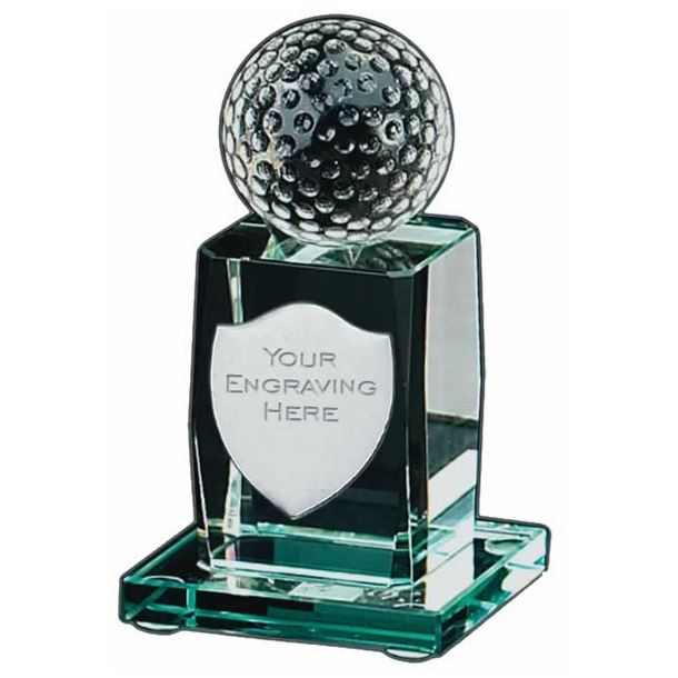 "3D Golfing Glass Award with Shield Engraving Plate 11cm (4.25"")"