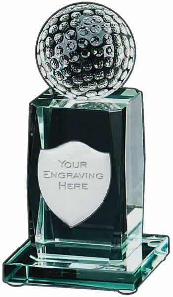 """3D Golfing Glass Award with Shield Engraving Plate 14cm (5.5"""")"""