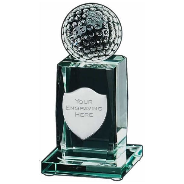 "3D Golfing Glass Award with Shield Engraving Plate 14cm (5.5"")"