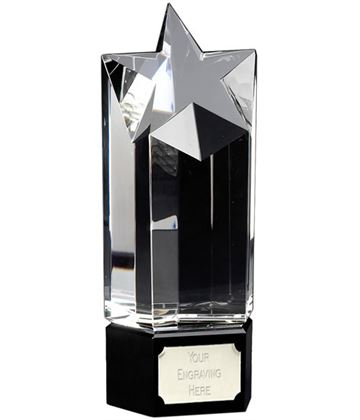"Optical Glass Award with Star Design 20cm (8"")"