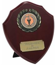 "Traditional Wooden Shield Award 10cm (4"")"