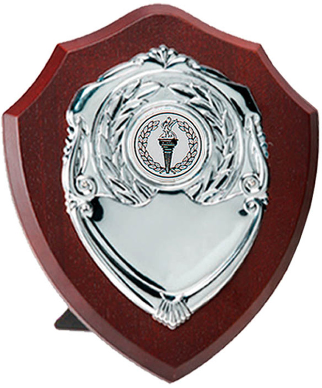 "Silver Presentation Shield on Wooden Plaque 12.5cm (5"")"
