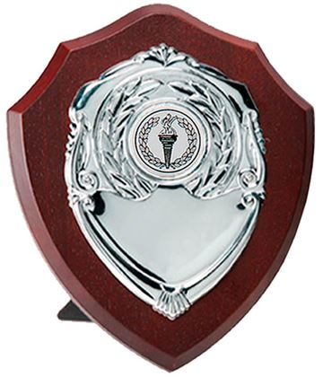 "Silver Presentation Shield on Wooden Plaque 15cm (6"")"