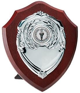 "Silver Presentation Shield on Wooden Plaque 18cm (7"")"