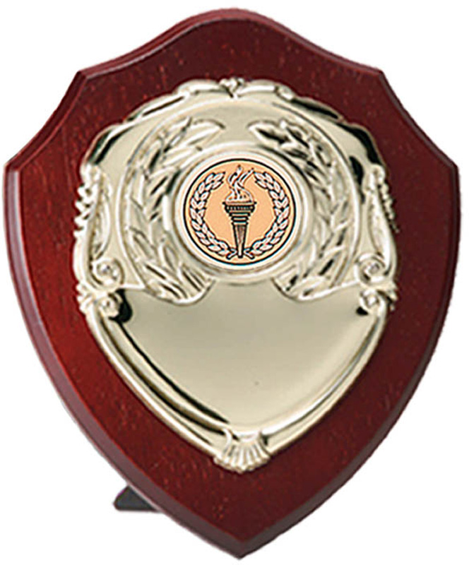 "Gold Presentation Shield on Wood 18cm (7"")"