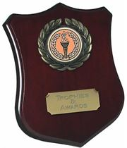 """Wooden Shield Award with Leaf Surround 10cm (4"""")"""