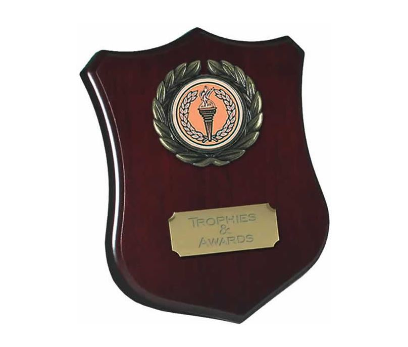 "Wooden Shield Award with Leaf Surround 10cm (4"")"