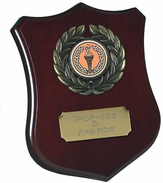 "Wooden Shield Award with Leaf Surround 12.5cm (5"")"
