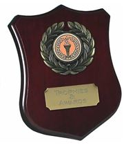 """Wooden Shield Award with Leaf Surround 12.5cm (5"""")"""